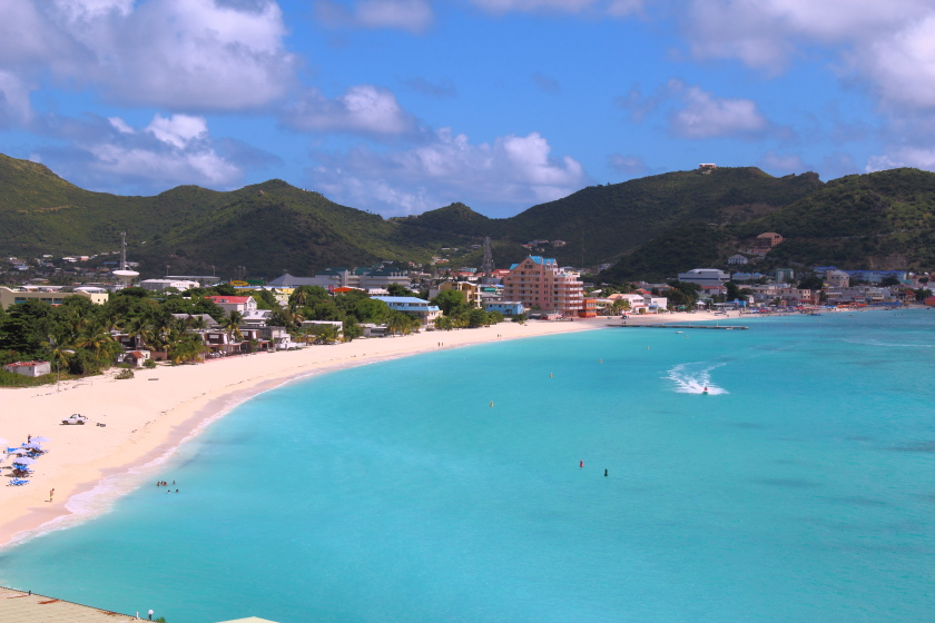 Philipsburg and the Great Bay, Sint Maarten, Caribbean